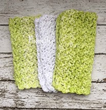 Handmade Kitchen Dish Cloths Honeydew Green White Eco Friendly Crochet S... - $18.75