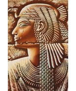 "XXXL Unique Handmade Papyrus Egyptian Queen Cleopatra Mask Painting_37""x... - $64.35"
