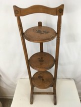 Vtg Antique Hand Made Crafted Solid Wood 3 Tier Tole Painted Pie Display... - $127.71