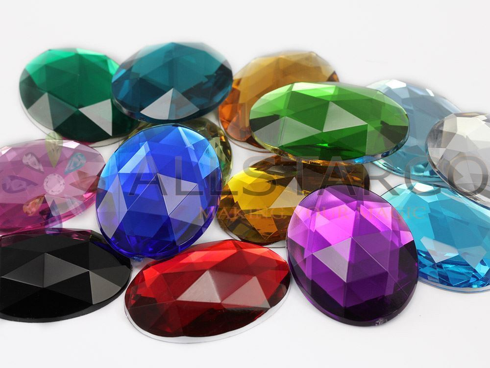 40x30mm Yellow Jonquil A12 Flat Back Oval Acrylic Gemstones 4 PCS
