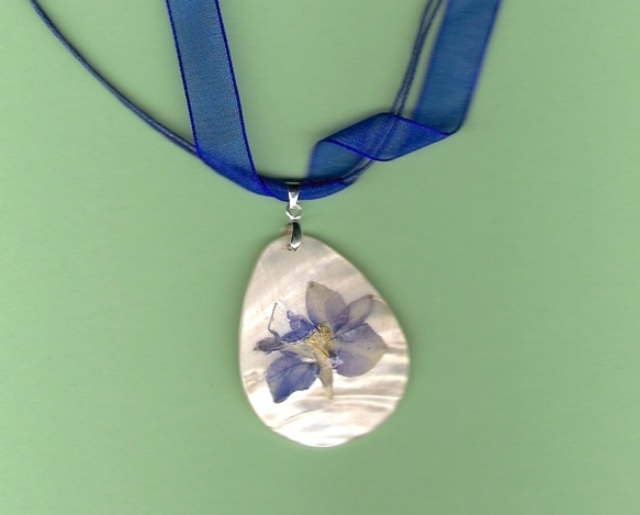 Artisian Pressed Flower on Shell pendant on Voile Cord