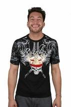 Ruthless Art Forever King Crâne T-Shirt Noir Avec / Rouge Strass Gemmes T-Shirt