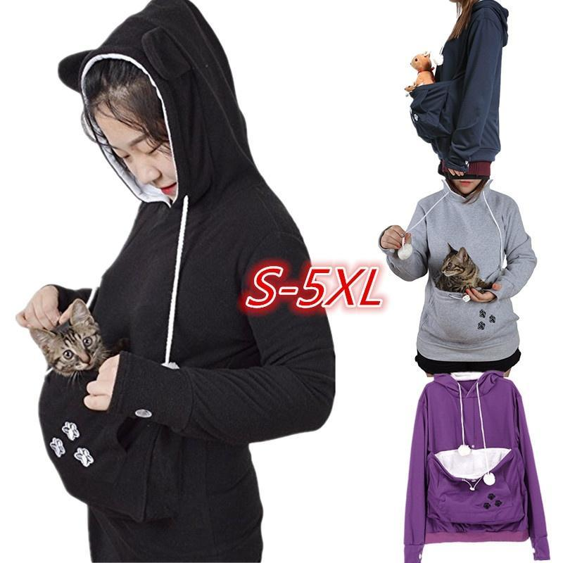 Women's Fashion Long Sleeve Hooded Cute Pouch Carriers Pullover Hoodie WZG3226