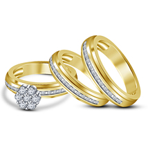 14k Yellow Gold Finish 925 Sterling Silver His Her Wedding Diamond Trio ... - $148.99