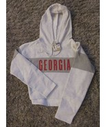 Authentic Champion NCAA Georgia Half/Crop Hoodie Sweatshirt Lt Gray Sz.X... - $24.74