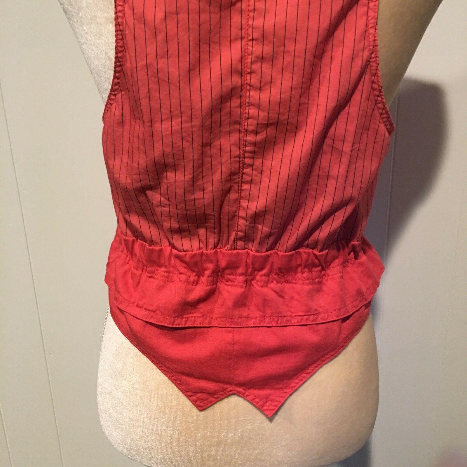 Zara Basic Orange Vest, Buttons & Ties, Size Small image 6