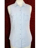 DANIEL RAIN blue striped cotton sleeveless button shirt blouse M (T42-02... - $7.90