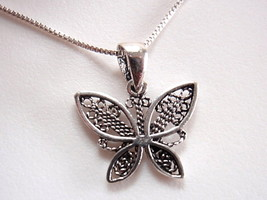 Butterfly Detailed Wings Necklace 925 Sterling Silver Corona Sun Jewelry - $14.09