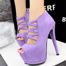 ps333 elegant rhinestone sandals, suede leather, US Size 4-8, violet - $48.80