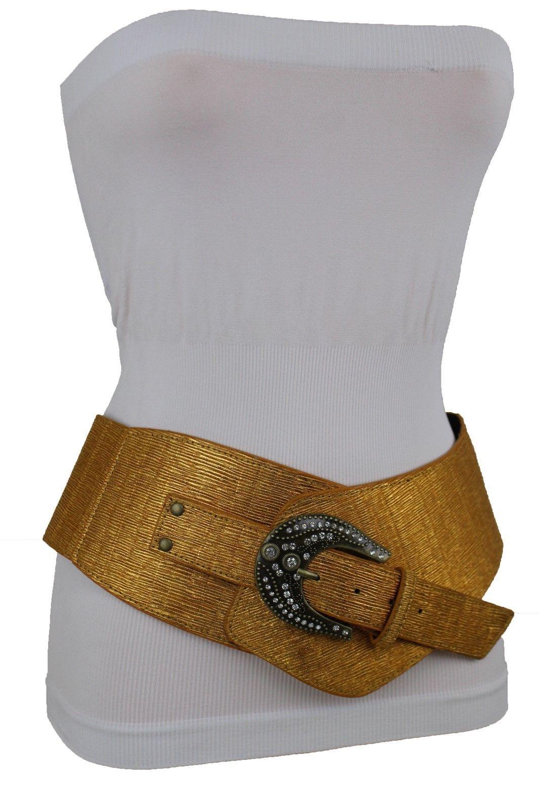 Damen Extra Breit Band West Gürtel Hüfte Taille Metallic Gold Color Plus