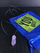 "Quartz Crystal Necklace Dyed Pink On 22"" Black Smooth Cord - $13.30"