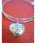 """""""Pets Leave Paw Prints on our Hearts"""" Silver Wire Expandable Bracelet w/... - $10.00"""