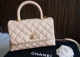 100% AUTHENTIC CHANEL 2017 CAVIAR QUILTED MINI COCO HANDLE FLAP BAG BEIGE GHW