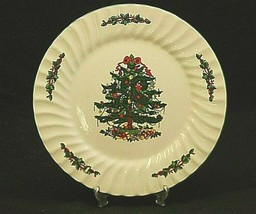 "Classic China CHRISTMAS VILLAGE 10-3/8"" Dinner Plate Xmas Tree Design Sw... - $19.79"