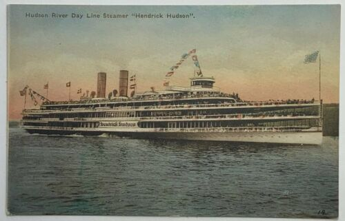 Primary image for Old VTG Hand-Colored Postcard Hudson River Day Line Steamer Hendrick Hudson