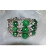 Gently Used Tapered Triple Strand Ornate Silvertone Bead with Green Stone Beads - $12.19