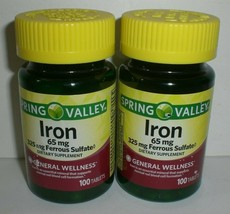 Spring Valley Iron 65mg 325mg Ferrous Sulfate Wellness Supplement 200 Tablets - $15.42