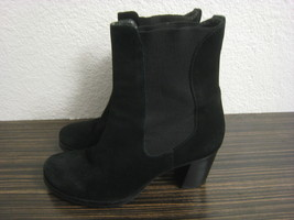 "Cole Haan Black Suede Ankle Boots Pull On 2 1/2"" Heels Size 6 1/2 - $19.99"
