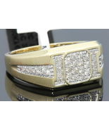 Yellow Gold Over Mens Round Diamond Wedding Engagement Pinky Ring Band 2... - $121.99