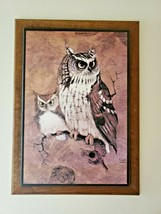 Vintage 1970s Richard Owl SCREECH Mounted Hanging Owl Art Decor Framed P... - $34.64