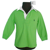 NEW Polo Ralph Lauren Boys Rugby Shirt!  4  *Bright Green with Navy Polo Player* - $38.99
