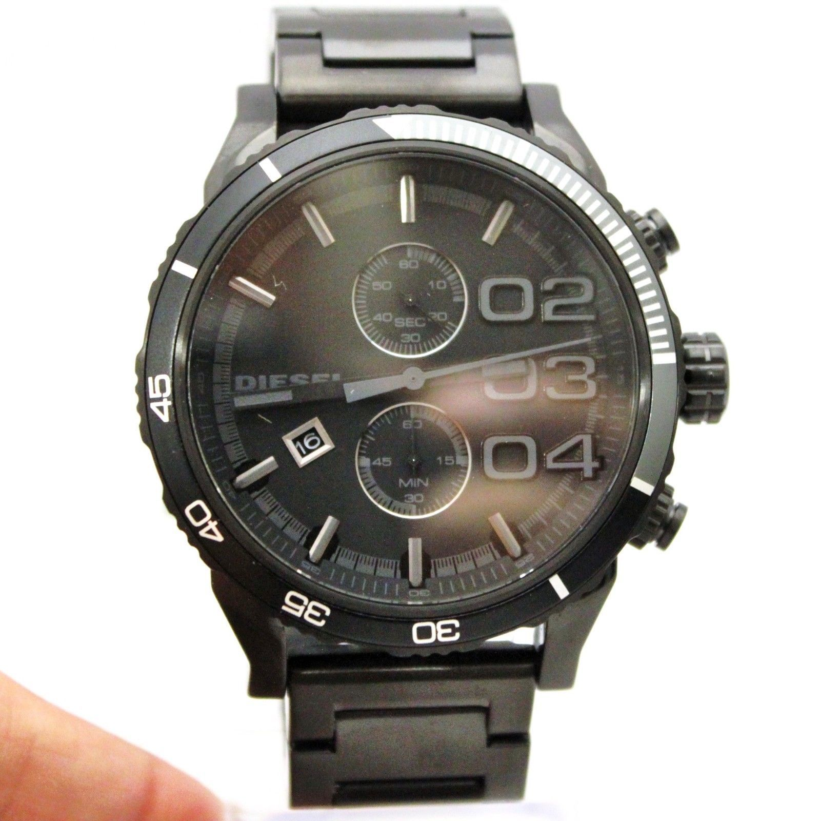 New Diesel DZ4326 Chronograph Double Dawn Black Stainless Steel Watch for Men