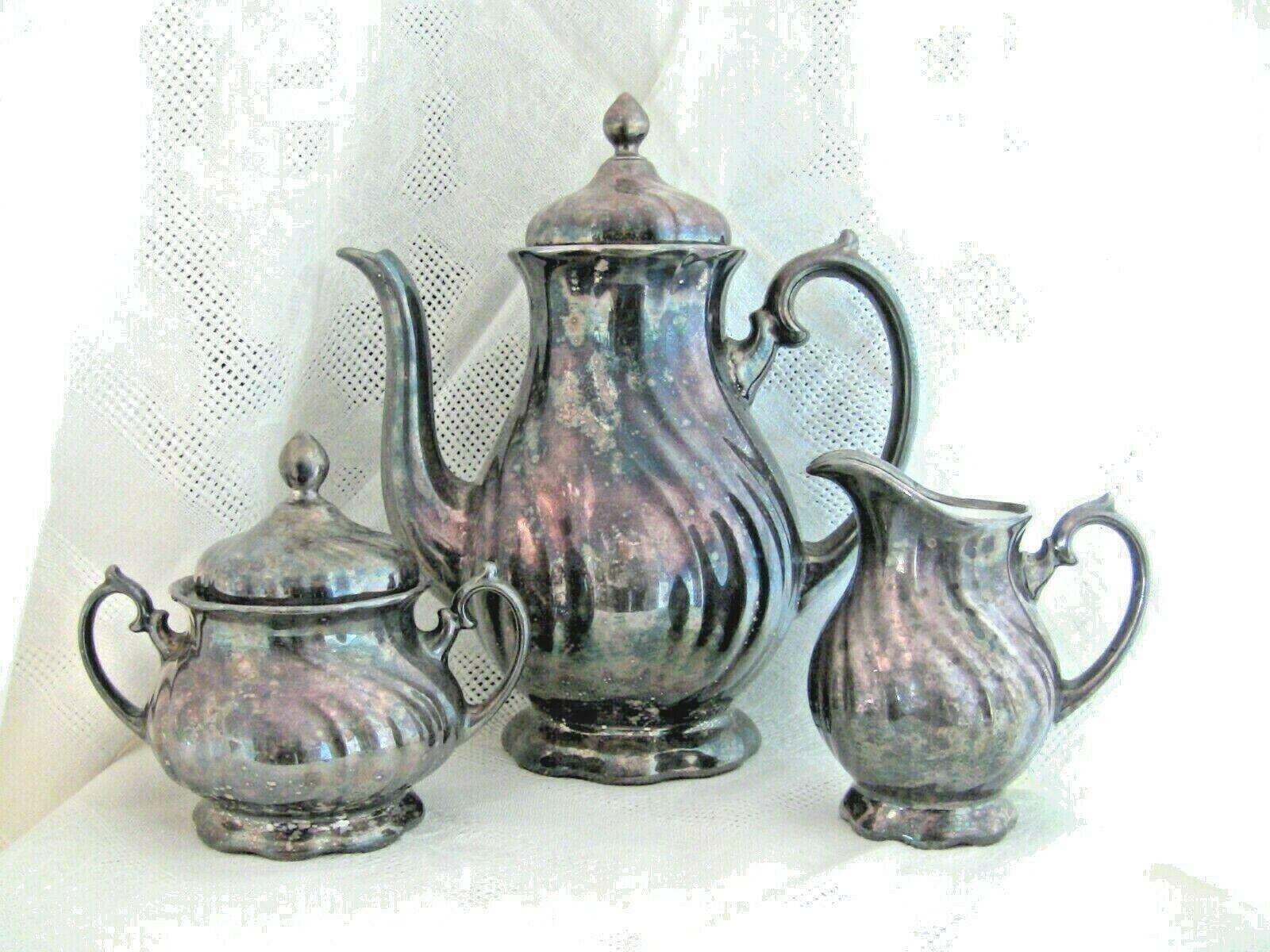Silver Over Porcelain Coffee Pot Creamer Sugar Bowl Set Vintage Thomas Germany - $116.10