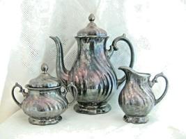 Silver Over Porcelain Coffee Pot Creamer Sugar Bowl Set Vintage Thomas G... - $116.10