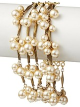 David Aubrey Hadrien USA Made Chain & Simulated Pearl Fringe Bracelet NWT image 1