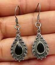 925 Sterling Silver - Vintage Petite Black Onyx Tear Drop Dangle Earrings- E4225 - $23.19