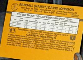 1989 DonRuss Rated Rookie Randy Johnson Pitcher  AA20-BTC3030 Baseball Trading C image 2