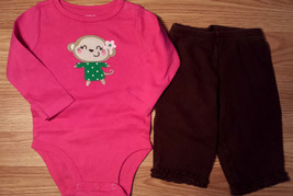 Girl's Size 6 M 3-6 Months Two Piece Carter's Pink L/S Monkey Top & Brow... - $17.00