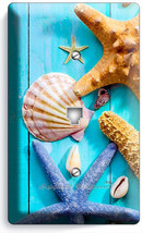 Hd Rustic Turquoise Wood Nautical Sea Shell Starfish Phone Telephone Plate Cover - $11.69