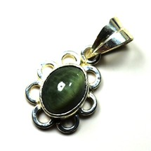 Pretty Cats Eye Solid Silver Pendant 5 Carat Green Stone Necklace Jewelr... - $29.40