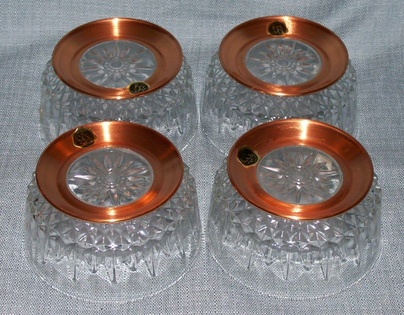 "Arcoroc CopperCraft Guild- Diamant Salad /dessert Bowls- 5"" Copper Bases-NWT image 2"