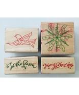 4 Hampton Art Rubber Stamps Merry Christmas Peace Dove Snowflake 'Tis th... - $5.94