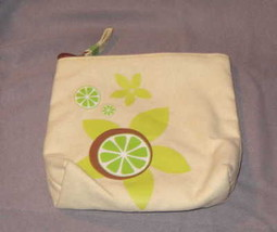 Mary Kay Make Up Cosmetic Bag Beige Fabric Zip Top Green Flowers Limes 7... - $11.87
