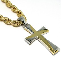 18K YELLOW GOLD BIG 5 MM ROPE CHAIN, 24 INCHES & STYLIZED SQUARE TWO TONE CROSS image 2