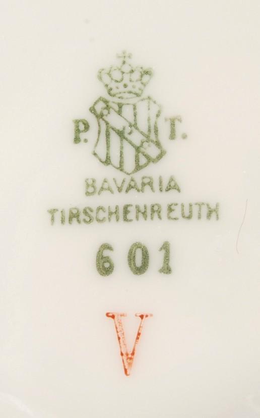 Tirschenreuth Bavaria Apple Blossom Saucer 601 V White w Gold Trim