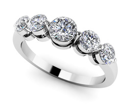 Solid 14K White Gold Fn 0.40Ct Round Cut Sim Five Stone Anniversary Band... - $113.99