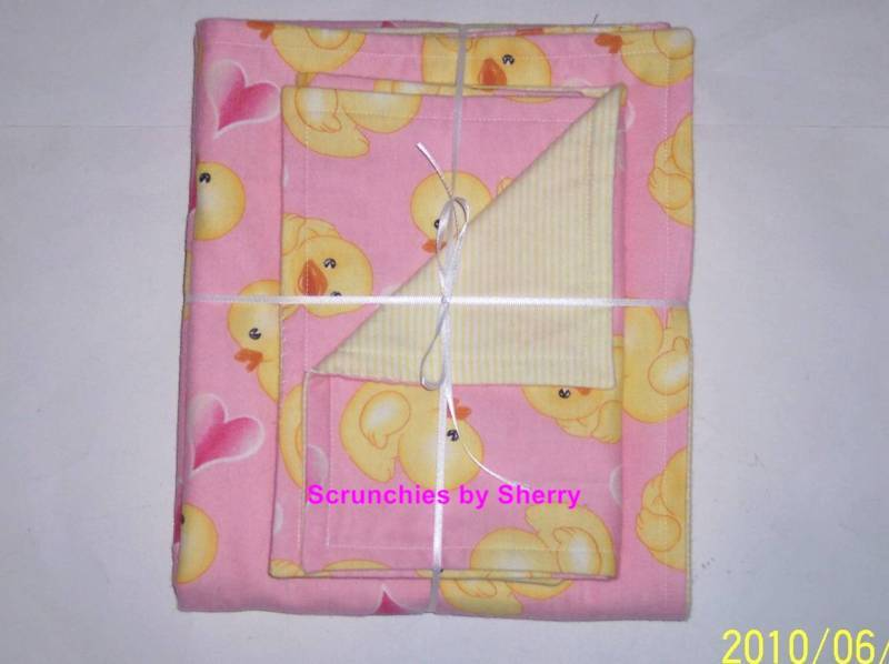 Baby Girl Double Flannel Blanket & Burp Cloth Sets