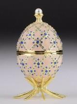 White Faberge Egg Trinket Box & Clock Handmade by Keren Kopal Austrian Crystals - $125.10