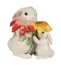 Fitz and Floyd Bunny Blooms Cookie Jar Easter Spring Flowers Rabbit - $88.83