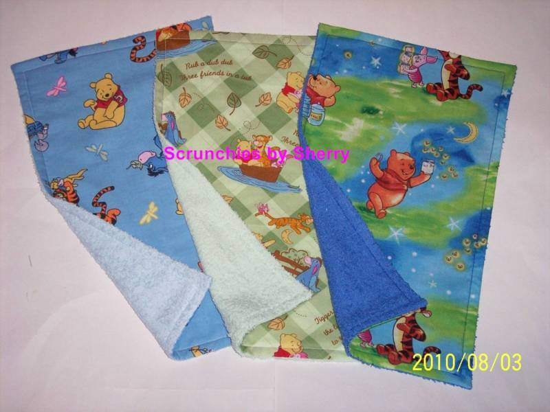 3 Disney Winnie the Pooh Eeyore Burp Cloth Baby Girl Boy