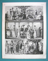 GREECE Greek Costume Women Singer Amazon Spinner - 1844 Antique Print En... - $12.96