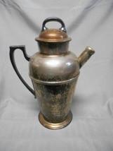 """Vintage drink mix & server pitcher nickel silver plate cork lid 11"""" - $54.88"""