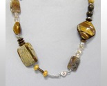 Brown Gemstone Beaded Necklace Chunky Jasper Tigers Eye Handmade New