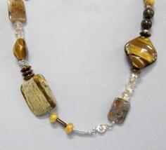 Brown Gemstone Beaded Necklace Chunky Jasper Tigers Eye Handmade New - $110.00