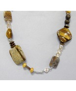 Brown Gemstone Beaded Necklace Chunky Jasper Ti... - $110.00