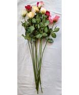 Long Stem Roses, Silk Roses 10 Long Stemmed Pinks & Yellows & Red - $49.99